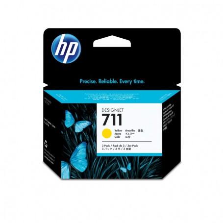 HP 711 - Pack de 3 cartouches d'impression jaune 29ml (CZ136A)