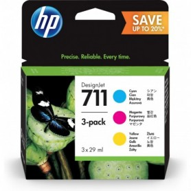HP 711 - Pack de 3 cartouches d'impression cyan, magenta et jaune 29ml (P2V32A)