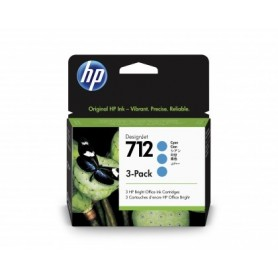 HP 712 - Pack de 3 cartouches d'impression cyan 29ml (3ED77A)