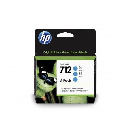 HP 712 - Pack de 3 cartouches d'impression cyan 29ml (3ED77A)